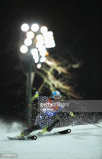 Macarena Simari Birkner of Argentina in action during the Women's Slalom during day 14 of the Sochi 2014 Winter Olympics at Rosa Khutor Alpine Center...