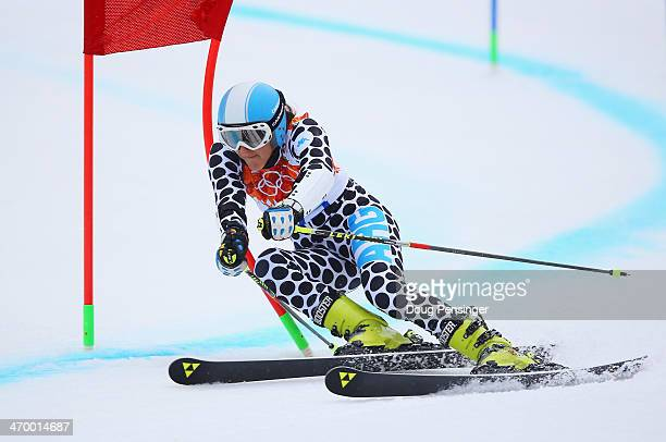 Macarena Simari Birkner of Argentina makes a run during the Alpine Skiing Women's Giant Slalom on day 11 of the Sochi 2014 Winter Olympics at Rosa...