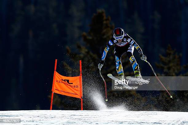 Macarena Simari Birkner of Argentina races during the Ladies' Alpine Combined Downhill run on the Raptor racecourse on Day 8 of the 2015 FIS Alpine...