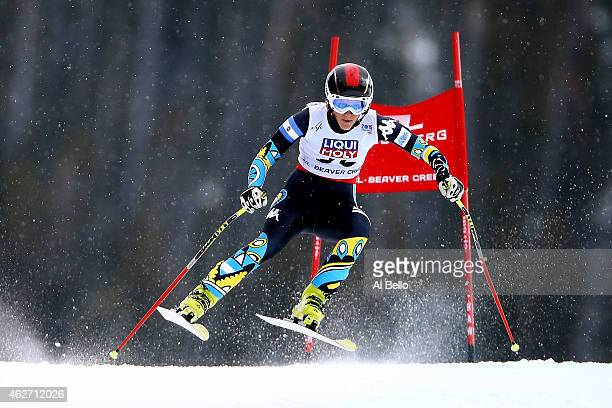 Macarena Simari Birkner of Argentina races during the Ladies' SuperG on the Raptor racecourse on Day 2 of the 2015 FIS Alpine World Ski Championships...