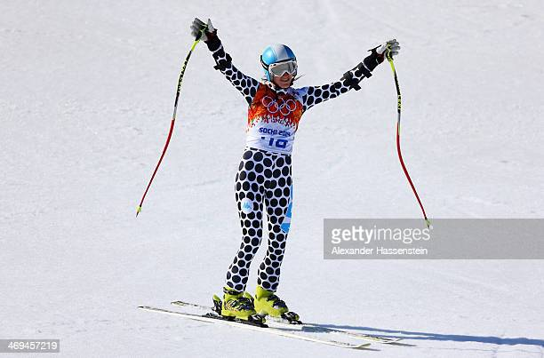 Macarena Simari Birkner of Argentina reacts after a run during the Alpine Skiing Women's SuperG on day 8 of the Sochi 2014 Winter Olympics at Rosa...