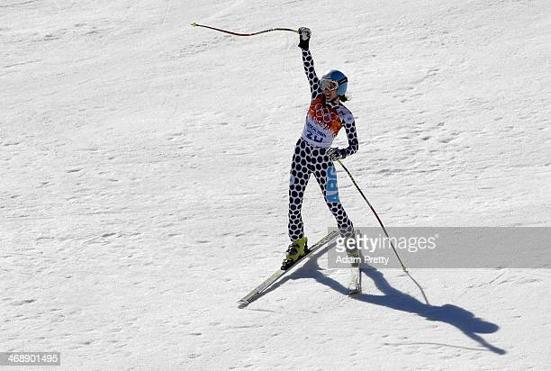 Macarena Simari Birkner of Argentina reacts at the end of her run during the Alpine Skiing Women's Downhill on day 5 of the Sochi 2014 Winter...