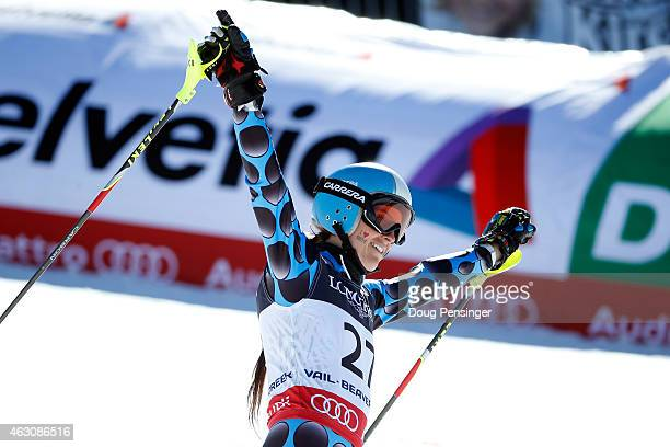 Macarena Simari Birkner of Argentina reacts during the Ladies' Alpine Combined Slalom run on the Raptor racecourse on Day 8 of the 2015 FIS Alpine...