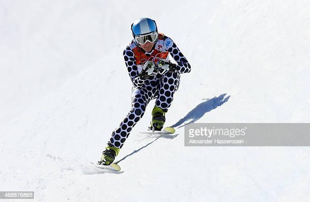 Macarena Simari Birkner of Argentina skis during the Alpine Skiing Women's Downhill on day 5 of the Sochi 2014 Winter Olympics at Rosa Khutor Alpine...