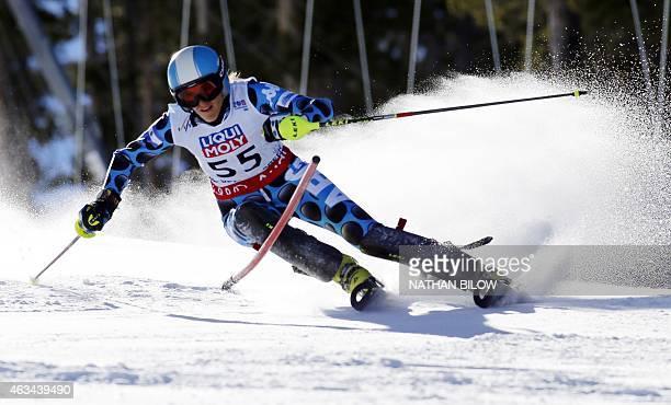 Macarena Simari Birkner of Argentina skis her first run during the 2015 World Alpine Ski Championships women's slalom February 14 2015 in Beaver...