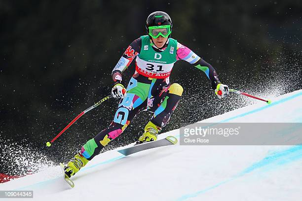 Macarena Simari Birkner of Argentina skis in the Women's Downhill during the Alpine FIS Ski World Championships on the Kandahar course on February 13...