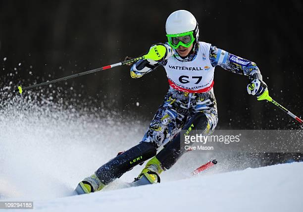 Macarena Simari Birkner of Argentina skis in the Women's Slalom during the Alpine FIS Ski World Championships on the Gudiberg course on February 19...