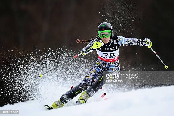Macarena Simari Birkner of Argentina skis in the Women's Super Combined Slalom during the Alpine FIS Ski World Championships on the Gudiberg course...