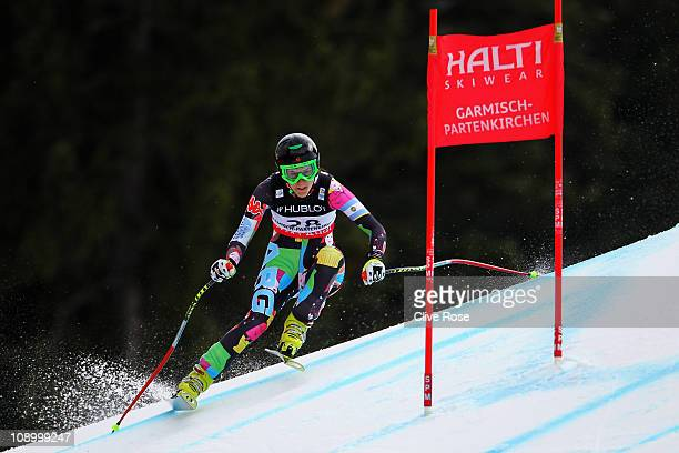 Macarena Simari Birkner of Argentina skis in the Women's Super Combined Downhill during the Alpine FIS Ski World Championships on the Kandahar course...