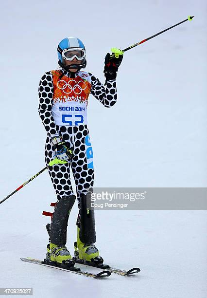 Macarena Simari Birkner of Argentinareacts after her first run during the Women's Slalom during day 14 of the Sochi 2014 Winter Olympics at Rosa...