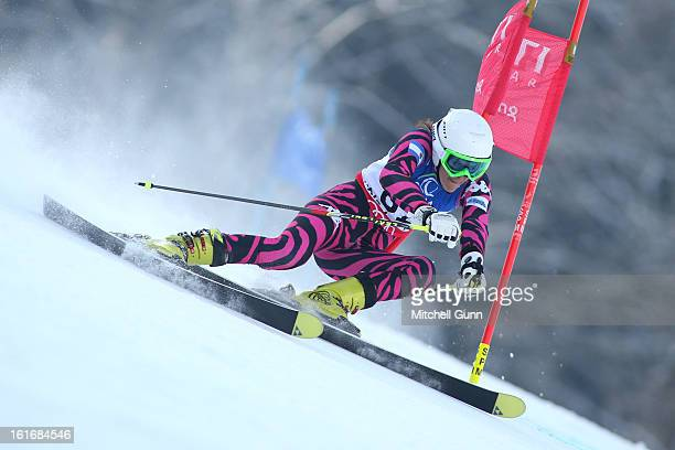 Macarena SimariBirkner of Argentina races down the course whilst competing in the Alpine FIS Ski World Championships giant slalom race on February 14...