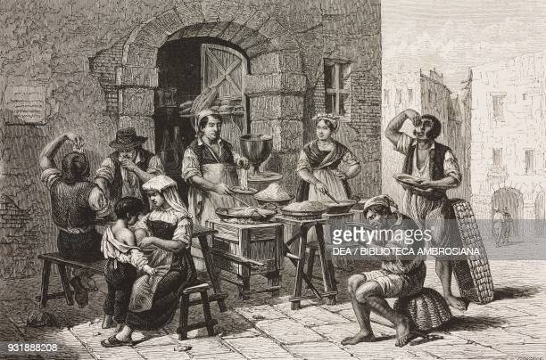 Macaroni vendor, drawing by Tony Francois de Bergue , from Naples and the Neapolitans, Letters by Marc Monnier , from Il Giro del mondo , Journal of...