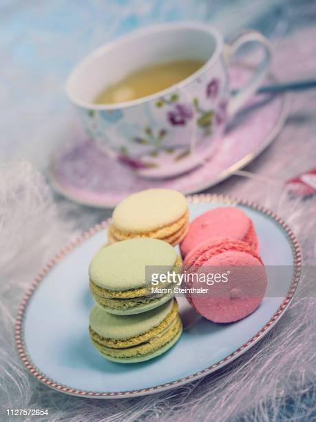 Macarons auf Teller mit Teetasse - Kaffeeklatsch