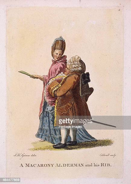 'A macarony alderman and his rib' c1770 A fat alderman with an elaborate wig strolls with a woman presumably his wife as in the Biblical creation of...