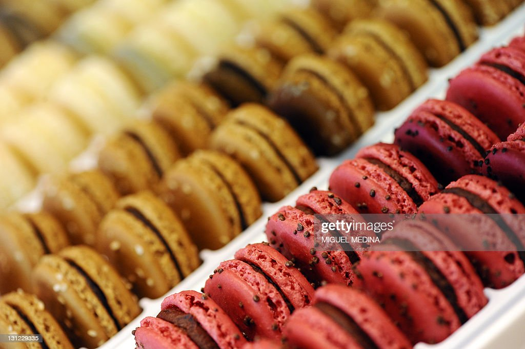 Macaroons are displayed at a shop of French gourmet food company Fauchon, on October 28, 2011 in Paris.