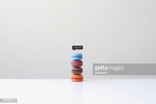 macaroons with a select all sign - group of objects stock photos and pictures