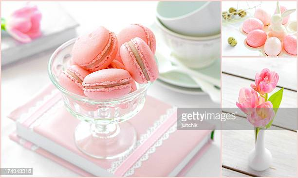 Macaroons with rose and lychee