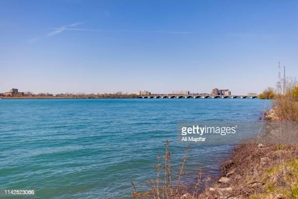 macarthur bridge - detroit river stock pictures, royalty-free photos & images
