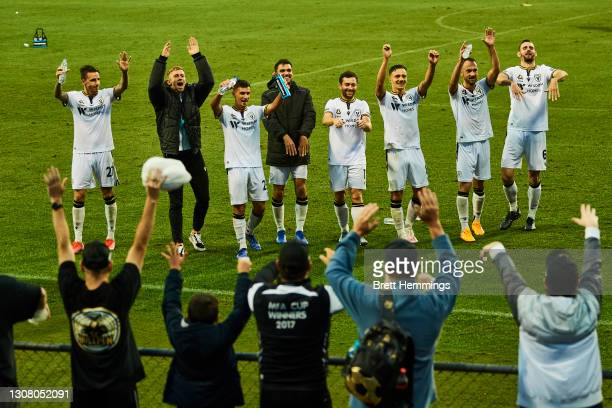 Macarthur FC players celebrate victory during the A-League match between Macarthur FC and Western United at Campbelltown Stadium, on March 20 in...