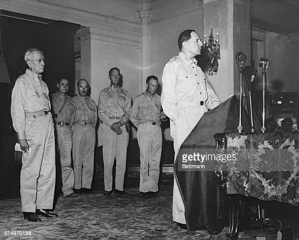 MacArthur Returns Civil Rule to Filipino President Manila Philippines General of the Army Douglas MacArthur is shown addressing officials of the...