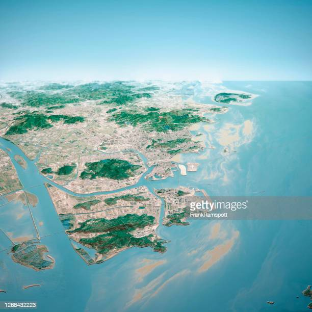 macau 3d render aerial horizon view from north jan 2020 - frankramspott stock pictures, royalty-free photos & images