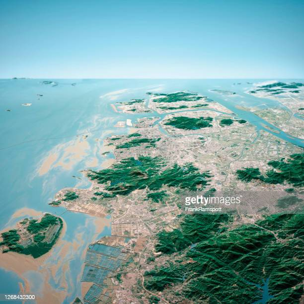macau 3d render aerial horizon view from south jan 2020 - frankramspott stock pictures, royalty-free photos & images