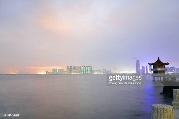 Macau and Zhuhai night skyline
