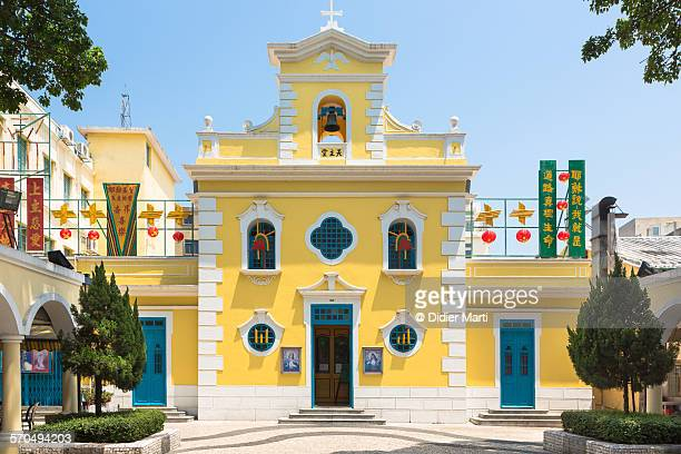 macau church in coloane - macao stock pictures, royalty-free photos & images