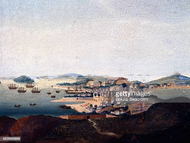Macau city and port former Portuguese colony engraving 19th century Helsingor Kronborg Slot HandelsOg Søfartsmuseet