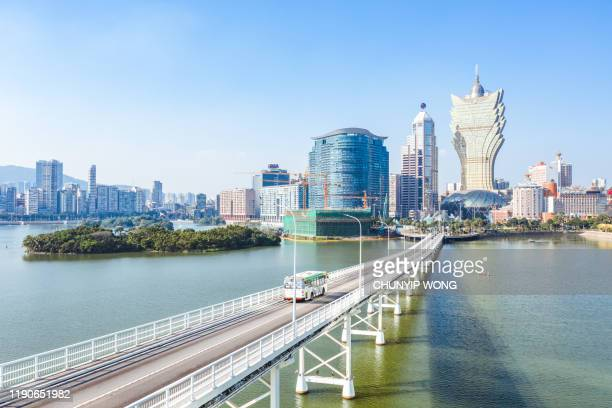 macau city, drone view - macao stock pictures, royalty-free photos & images