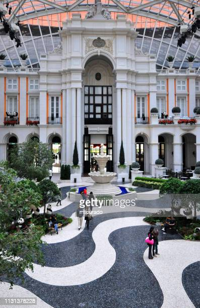 mgm macau hotel and casino - downtown lisbon architecture and calçada, macau, china - calçada stock pictures, royalty-free photos & images