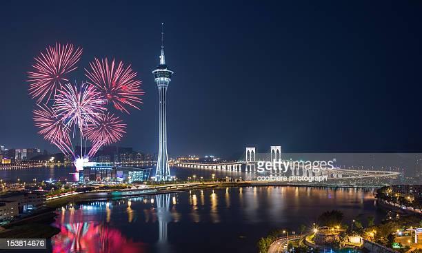 macau international fireworks - マカオ ストックフォトと画像