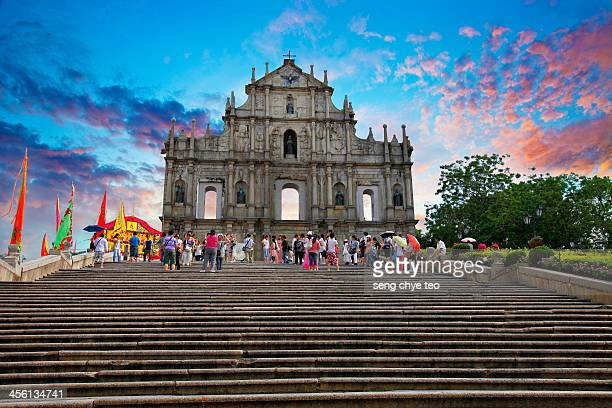 macau ruin of st paul church - macao stock pictures, royalty-free photos & images