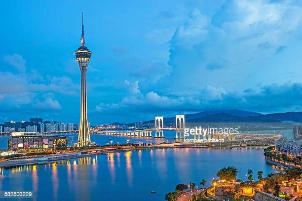 macau tower at blue hour - macao stock pictures, royalty-free photos & images