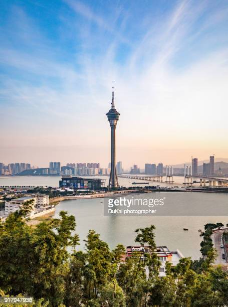 macau tower sunset - macao stock pictures, royalty-free photos & images