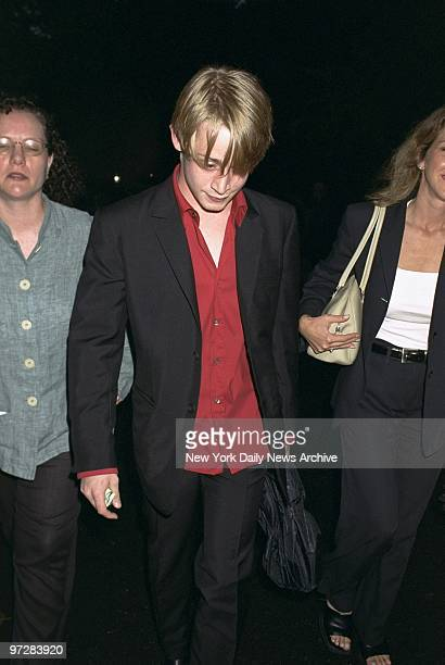 """Macaulay Culkin arrives for the opening night of Chekhov's """"The Seagull"""" at the Delacorte Theater in Central Park. Rain interrupted, then stopped,..."""