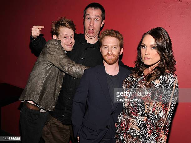 Macaulay Culkin Matthew Senreich Seth Green and Clare Grant attend the 2012 Adult Swim Upfront Party at Roseland Ballroom on May 16 2012 in New York...