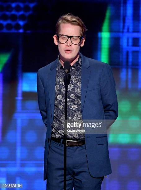 Macaulay Culkin speaks onstage during the 2018 American Music Awards at Microsoft Theater on October 9, 2018 in Los Angeles, California.