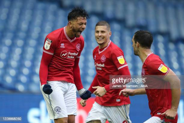 Macauley Bonne of Queens Park Rangers celebrates after scoring a goal to make it 1-1 during the Sky Bet Championship match between Sheffield...