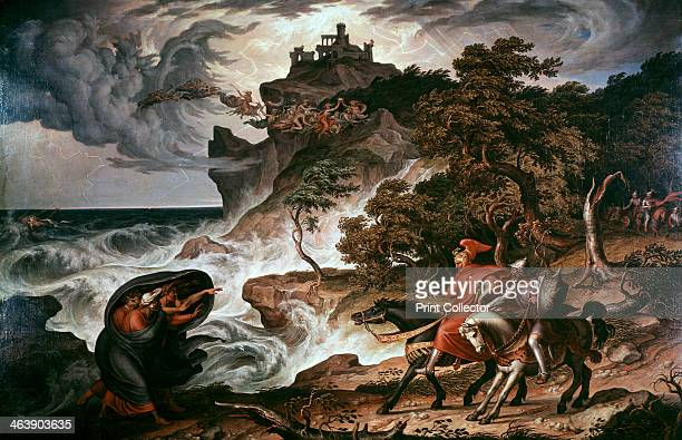 'Macbeth and the Witches' 1835 The witches flying through the sky riding goats and broomsticks are holding up the crown which Macbeth covets Scene...