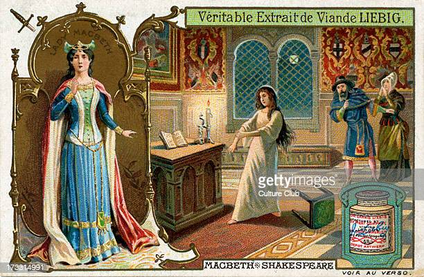Macbeth by William Shakespeare illustration on Liebig meat extract collectible card Scene showing Lady Macbeth overcome by remorse WS English poet...