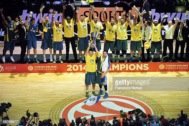 Maccabi Electra Tel Aviv celebrates after the Final Four 2014 Champions Awards Ceremony at Mediolanum Forum on May 18, 2014 in Milan, Italy.