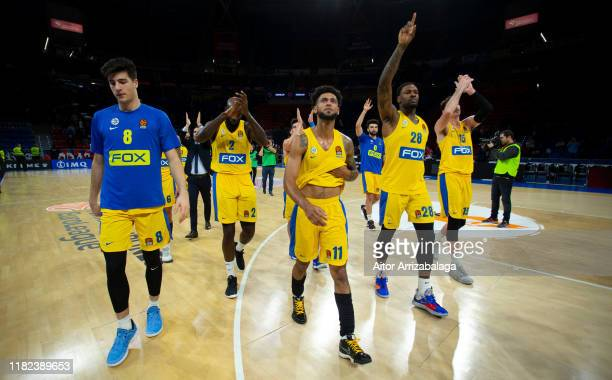 Maccabi Fox Tel Aviv players celebrate at the end of the 2019/2020 Turkish Airlines EuroLeague Regular Season Round 8 match between Kirolbet Baskonia...