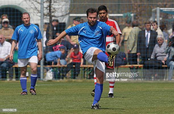 Maccabi Muenchen player Lothar Matthaeus plays the ball during a friendly soccer match between Maccabi Muenchen and the FC Bayern Muenchen All Star...