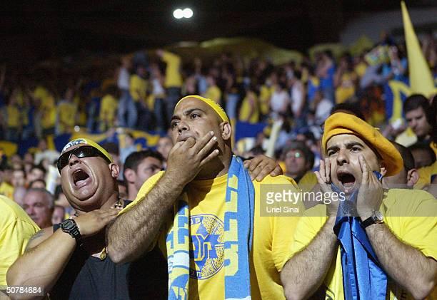 Maccabi Tel Aviv fans urge their team on during their semifinal match against CSKA Moscow April 29 2004 in the 2004 Euroleague Final Four tournament...