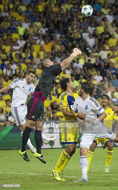 Maccabi Tel Aviv's Serbian goalkeeper Predrag Rajkovic stops the ball during the UEFA Champions League, group G, football match between Maccabi Tel...