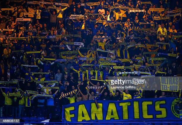 Maccabi Tel-Aviv fans during the UEFA Chanmpions League group G match between Chelsea and Maccabi Tel-Aviv FC at Stamford Bridge on September 16,...