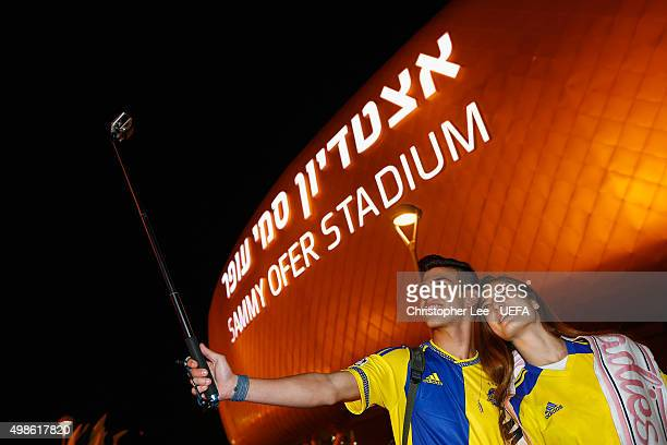 Maccabi TelAviv fans take a selfie during the UEFA Champions League Group G match between Maccabi TelAviv FC and Chelsea at the Sammy Ofer Stadium on...
