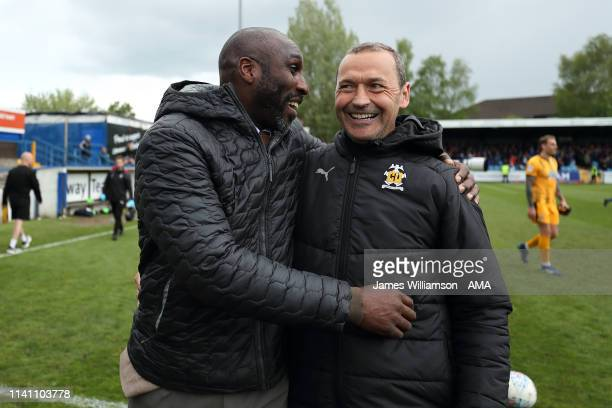 Macclesfield Town manager head coach Sol Campbell and Cambridge United manager head coach Colin Calderwood during the Sky Bet League Two match...