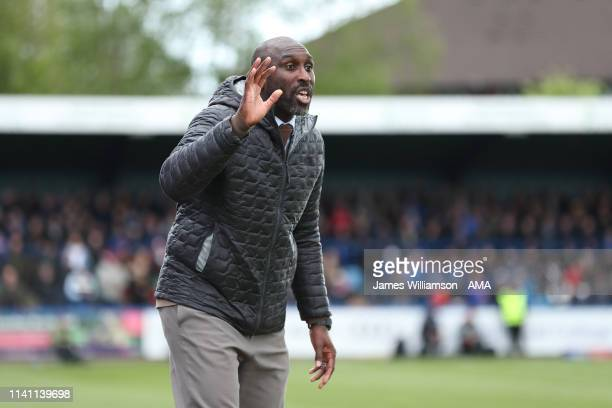 Macclesfield Town manager \ head coach Sol Campbell during the Sky Bet League Two match between Macclesfield Town and Cambridge United at Moss Rose...